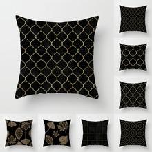 Pillowcase 45 * 45CM Black Series Gold Leaf Geometric Print Pillowcase Home Sofa Pillow Cushion Cover Decorative Pillowcase snowman print cushion cover pillowcase