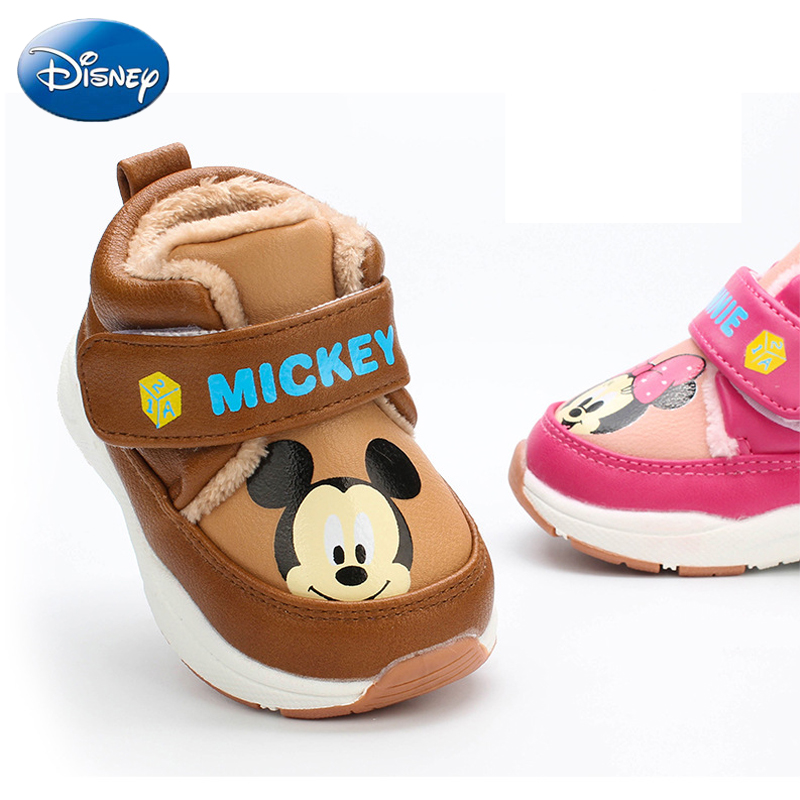 Disney Cartoon Cotton Minnie Casual Warm Home Shoes Non slip Boys Girl Mickey Baby Velvet Plush Autumn Winter New Fashion Shoes in Sneakers from Mother Kids