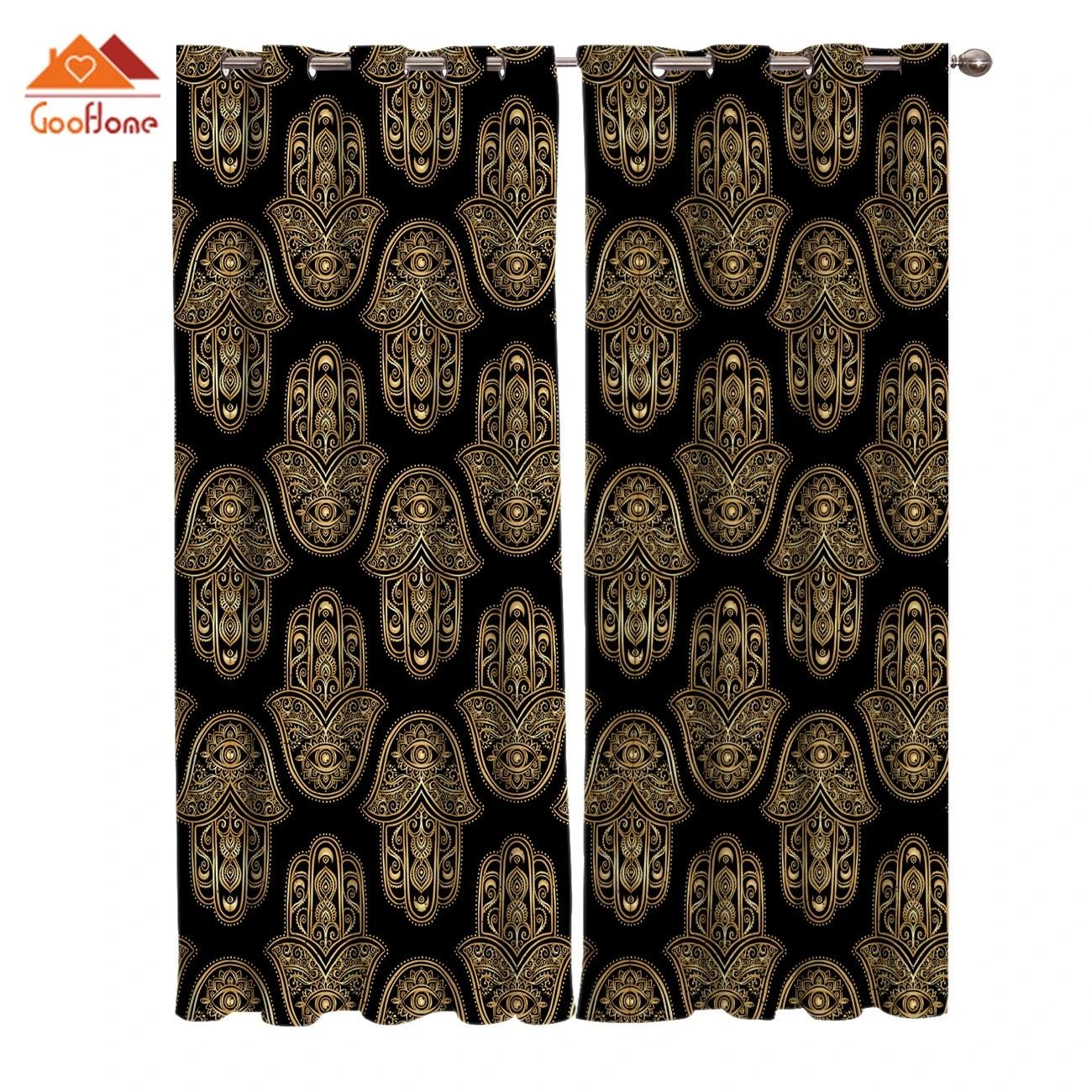retro black and gold mandala window curtains living room outdoor fabric drapes curtain home decor