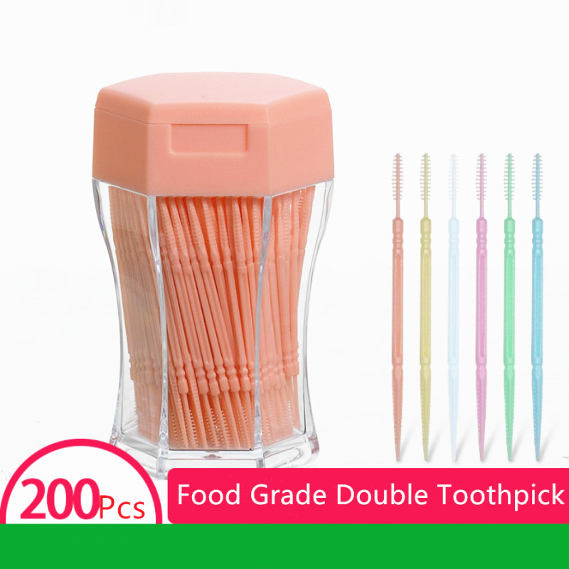 200pcs/set Soft Plastic Double-head Brushed Toothpick Oral Care 6.2 Cm Hot Sale Floss Toothpick Teeth Care Floss Pick