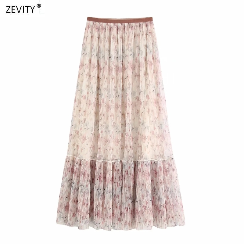 New 2020 Women Vintage Flower Print Pleated Long Skirt Faldas Mujer Chic Lady Patchwork Ruffles Mesh Vestido Retro Skirts QUN626