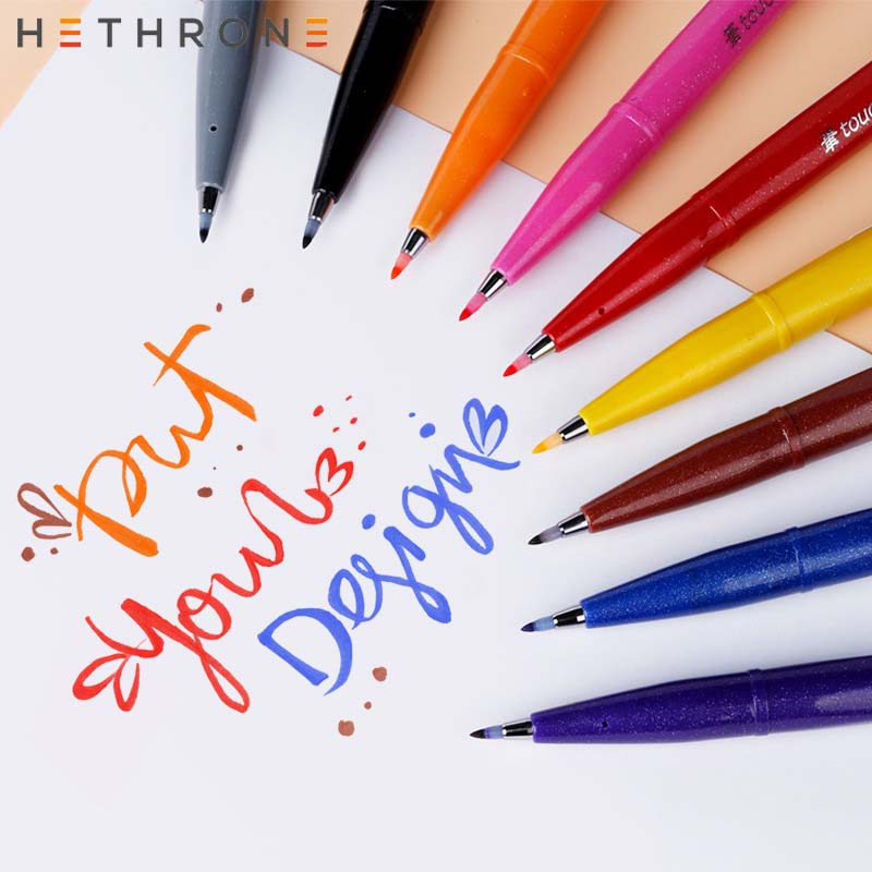 Hethrone 1pcs Colored Soft Brush Markers Pen Drawing Pen Oil Painting Supplies Markers Pen For Graffiti DIY Soft Brush Pen