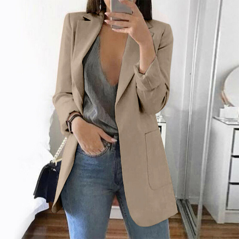 Women Slim Casual Blazer Jacket Top 15 Colors Plus Size Outwear Career Office Lady Long Coat