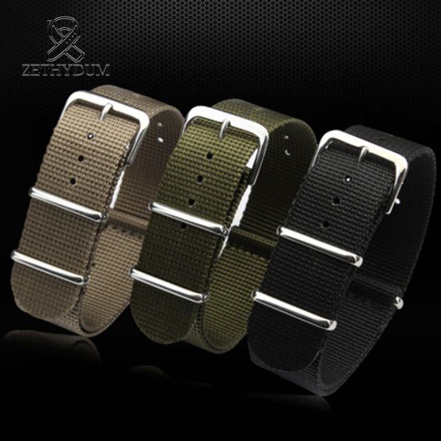 Simple and pure color Outdoor sport Nylon canvas watch belt Waterproof and sweat proof 16 18 20 22 24 Military Watch male strap