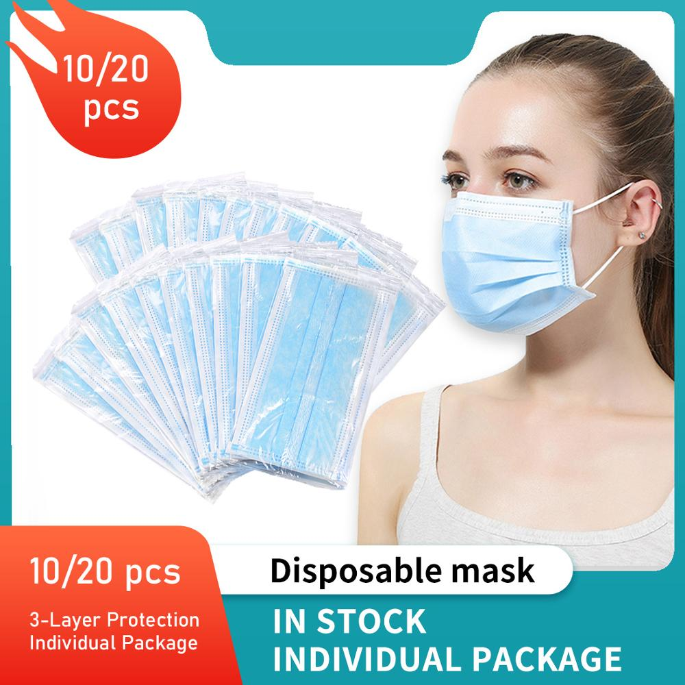 3 Layer Disposable Face Mask Dust Proof Earloop Mask Safe Protective Mask 20 Pcs Face Mask Anti Dust Fog Face Mask Breathable Ma