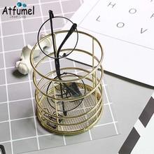 Golden Iron Art Cosmetic Storage Rack Rond Pen Holder Desktop Glasses Lipstick Brush Jewelry Organizer storage Box Showcase