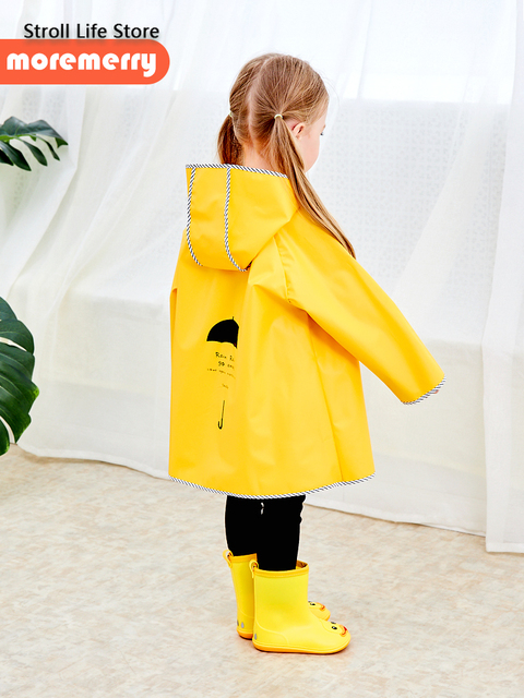 Cute Yellow Raincoat Kids Waterproof Rain Poncho Rain Coat Plastic Suit School Thick Boys Rain Jacket Cover Impermeable Gift 2