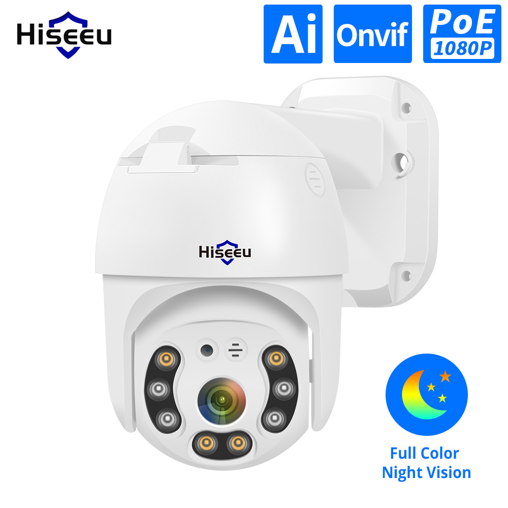 Hiseeu H.265 1080P POE cámara IP PTZ 4X ZOOM Digital 2MP cámara IP CCTV ONVIF para sistema de POE NVR impermeable al aire libre 48V