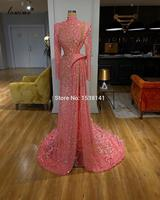 High Fashion Elegant Evening Dresses 2020 Muslim Long Sleeves Formal Evening Gowns Arabic Feathers Sexy Women Prom Dresses