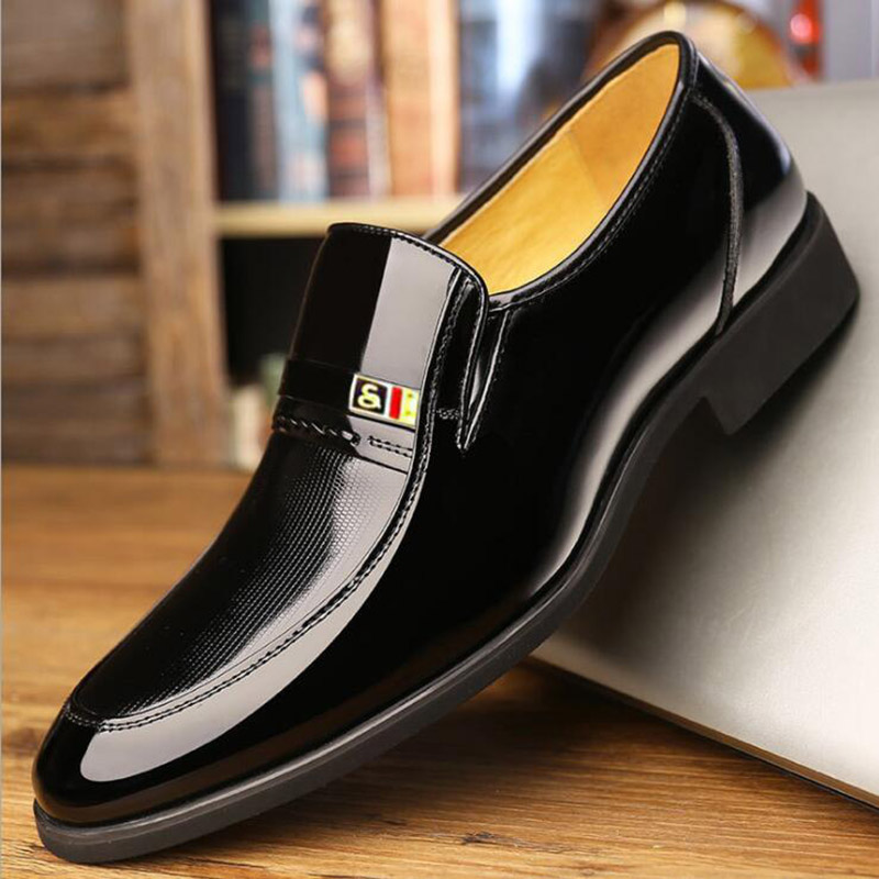 Han Edition Business Men's Leather Shoes Men Fall Paint Bright Skin Lazy Slip-on Breathable Business Suit Men's Leather Shoes