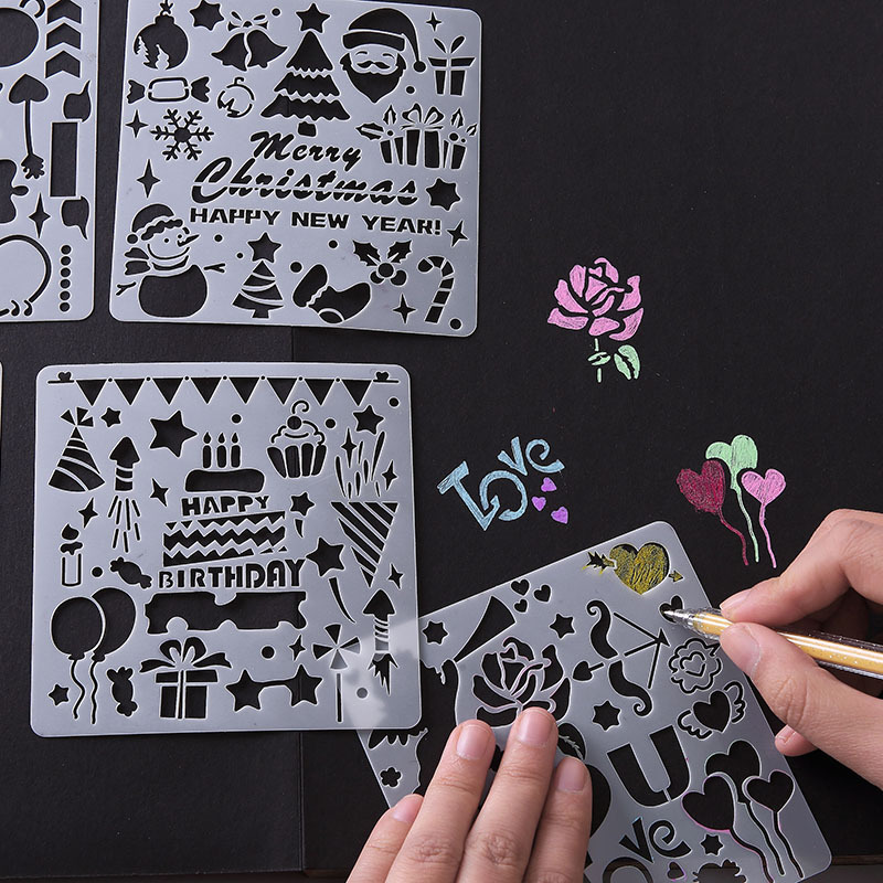 5Pcs/Set Children's DIY Cutout Painting Template Hand Account DIY Album Theme Lace Ruler Drawing Board Stencil Decoration Tools