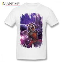 Guardians Of The Galaxy T Shirt Rocket With Guns T-Shirt Man Fun Tee Plus size Beach Graphic 100 Cotton Tshirt