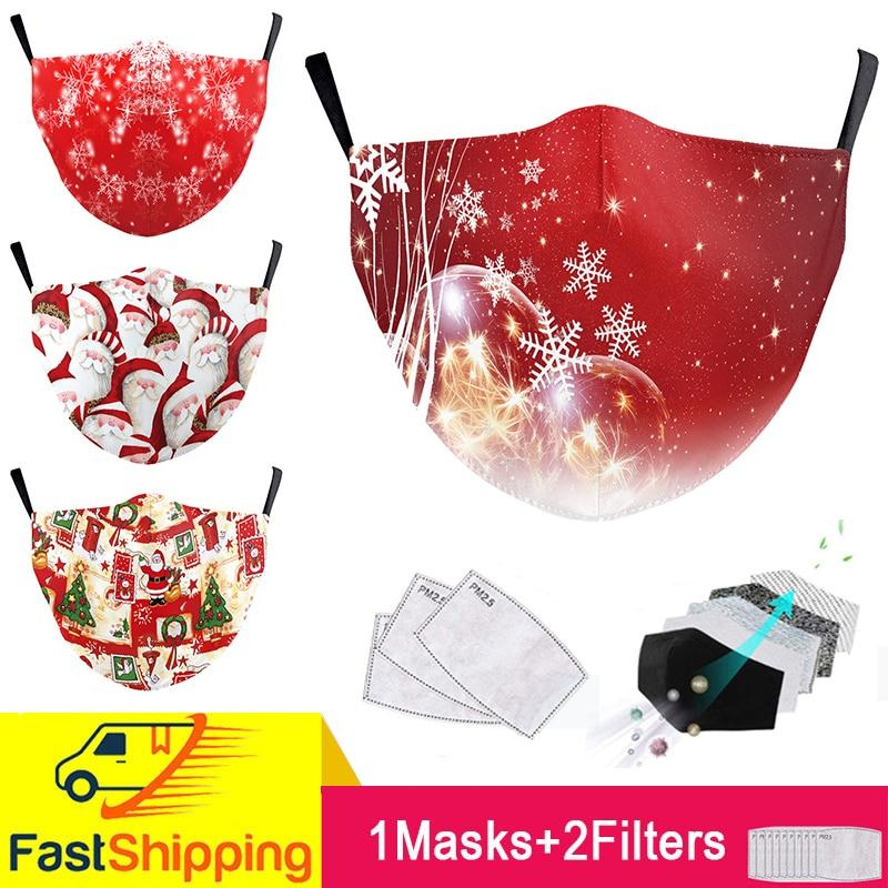 Пылезащитная маска для рта с фильтром PM2.5, маска для рта с рождественским принтом, моющаяся многоразовая маска для рта, маска для взрослых ун...