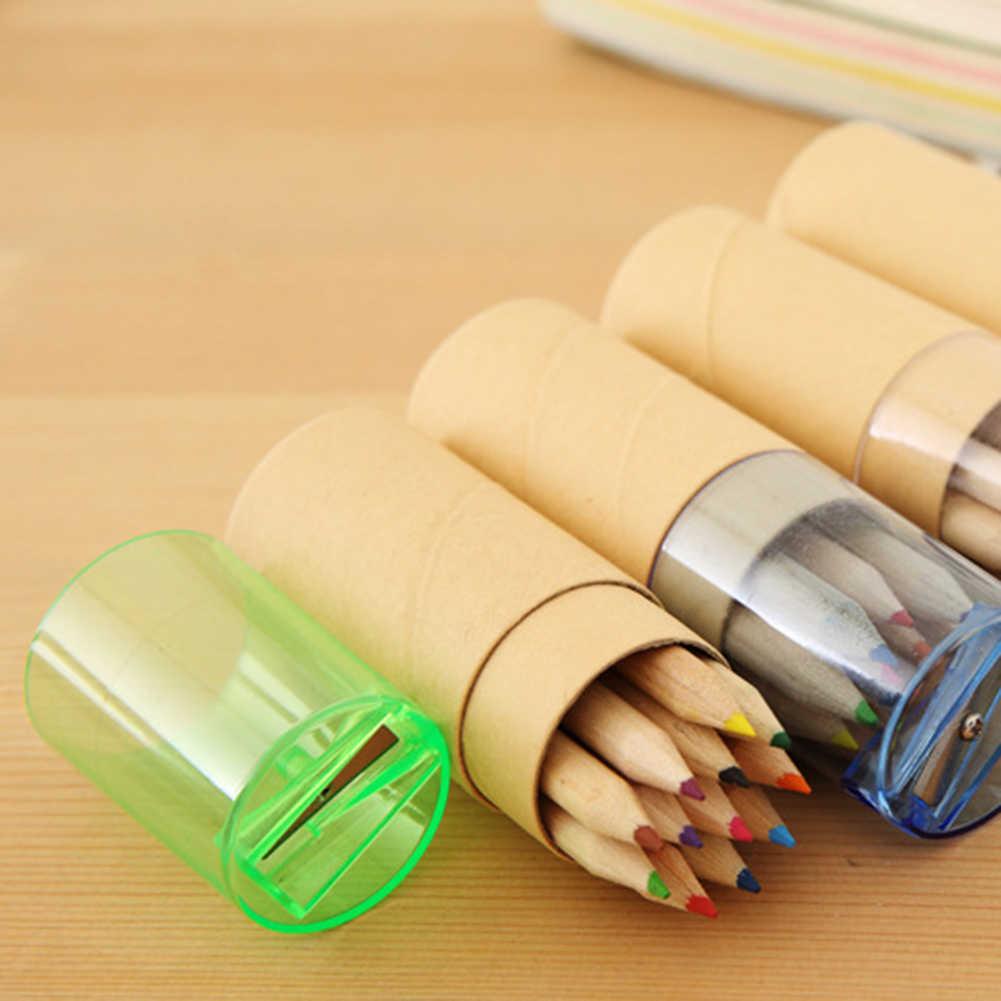 6/12 pièces Kid peinture fournitures dessin coloré écriture en bois école étudiant artiste crayons de couleur boîte dessin