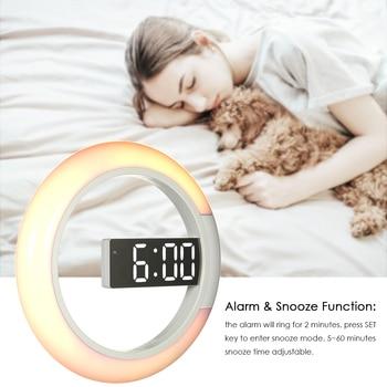New Digital Alarm Clock LED Wall Mirror Alarm Clock Temperture Display USB Changeable RGB Color Light Round Clock Snooze Functio