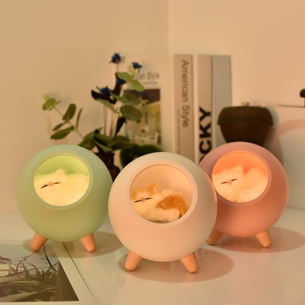 Small Night Light Creative Cute Little Cute Cat Pet House Small Night Light Usb Charging Touch Atmosphere Light #YL5