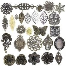 10Pcs Rose Flower Filigree Flower Pendants Wraps Metal Crafts Connectors For Embellishments Scrapbooking Jewelry DIY Accessories