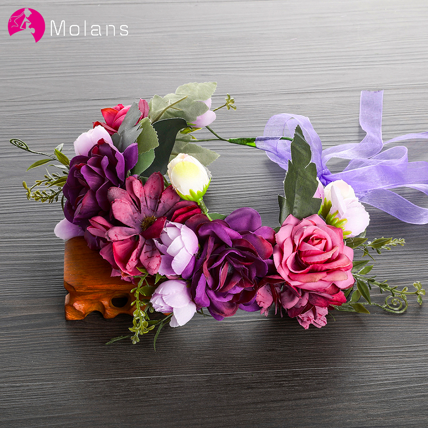 MOLANS Bride Wedding Party Flower Headband Headdress Women Purple Floral Crown Headbands Wreath Hair Bows Accessories