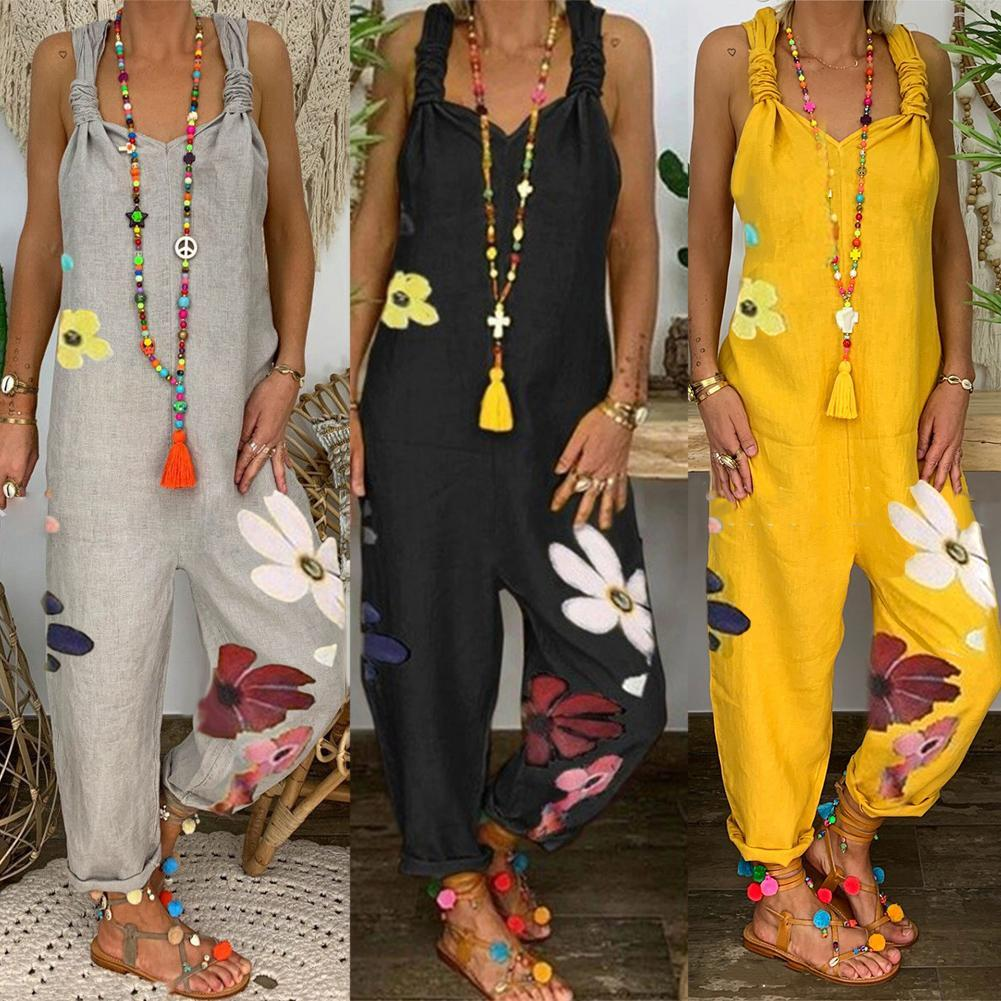 80% HOT SALES!!!Women Sleeveless Bib Overall Backless Floral Print Loose Jumpsuit Dungarees