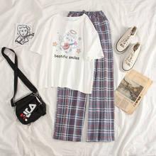 Ropa kawaii Dormir Tops + Pantalones trajes de dos piezas pijamas de verano para las mujeres Loungewear camisón para Dormir Dropshipping. Exclusivo.