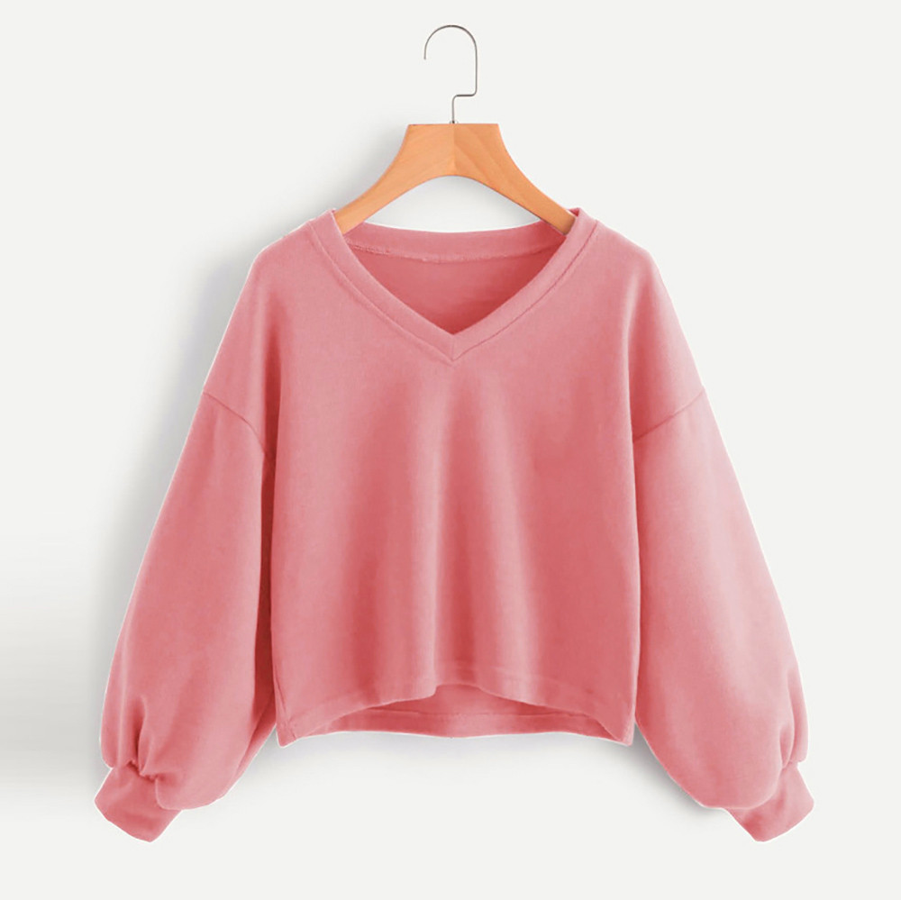 Jaycosin Fashion Women Solid Casual V-neck Lantern Sleeve Sweatshirt Casual Cool Chic New Look Hooded Pullover Tops Blouse 7