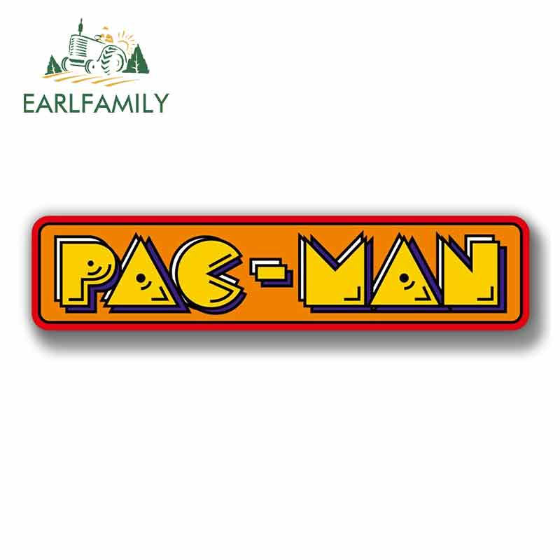 EARLFAMILY 13cm X 3.9cm For Pac Man Sign Car Stickers Helmet Motorcycle Sunscreen Vinyl JDM Windshield Bumper Windows Fine Decal