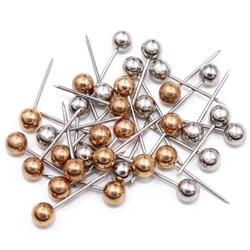 400pcs Map Tacks Push Pins, 3/5-Inch Shining Plastic Sphere Head With Stainless Steel Point (Gold & Silver)