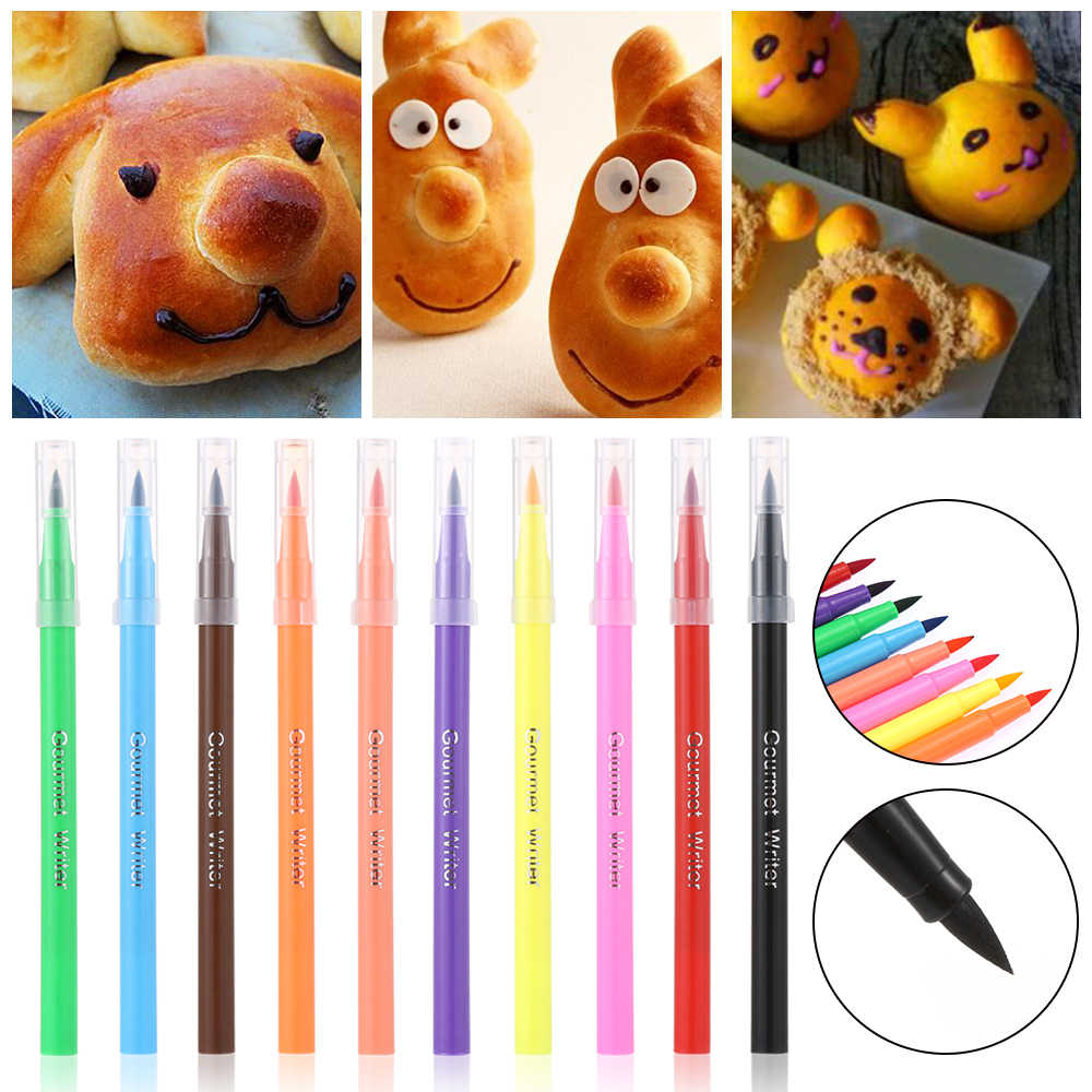 10 estilo colorante comestible pluma pincel para colorear alimentos para dibujar galletas utensilios para decoración de tortas con fondant pastel DIY artesanía herramienta para dibujar