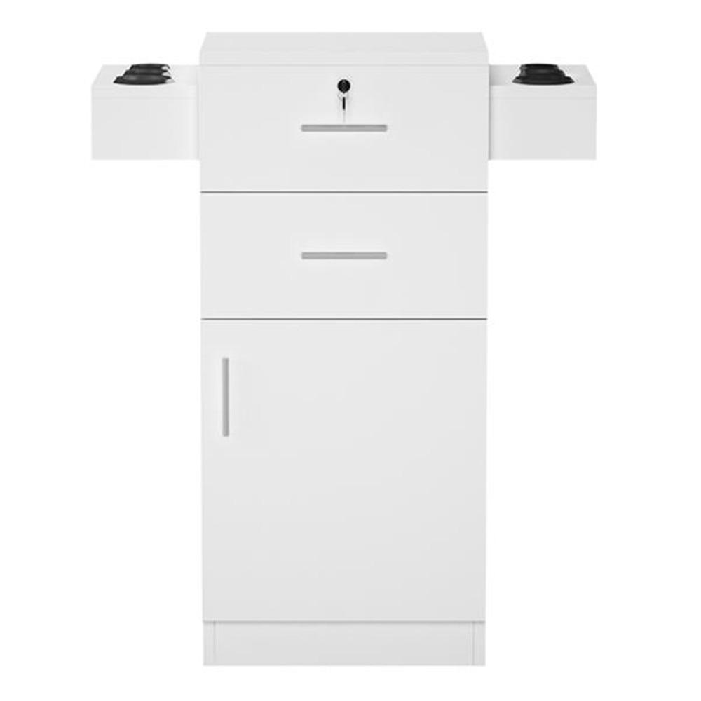 MDF и ABS пластик Парикмахерская Салон шкафчик фен стойка ящик с замком черный с двумя выдвижными ящиками аксессуары для хранения - 5