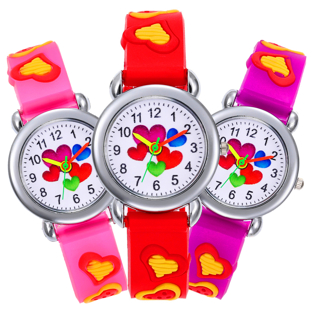 5 Heart-shaped Dials Child Watch Silicone Strap Kids Sports Watches Boys Girls Quartz Watches Children Clock Enfants Kol Saati