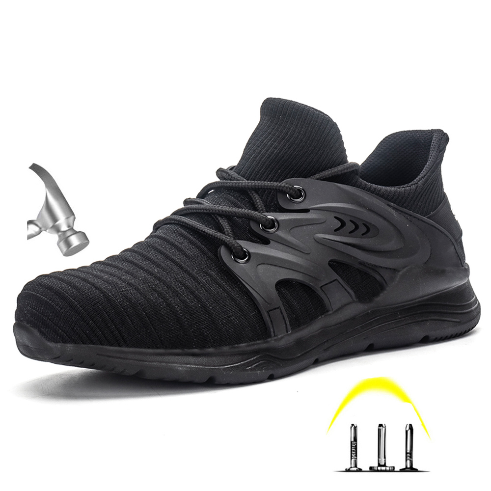 Drop Shipping Men's Steel Toe Anti Smashing Safety Protective Shoes Men Puncture Proof Work Shoes(China)