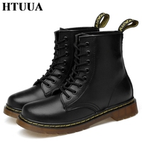 HTUUA 35 46 Genuine Leather Women Boots Fall Winter Warm Fur Ankle Martens Boots Woman Couple Casual Dr. Motorcycle Shoes SX3348