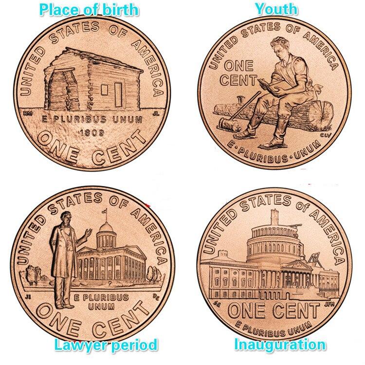 1 centavo 200th aniversário lincoln nascimento conjunto completo 4 peças unc real coleção de moedas originais