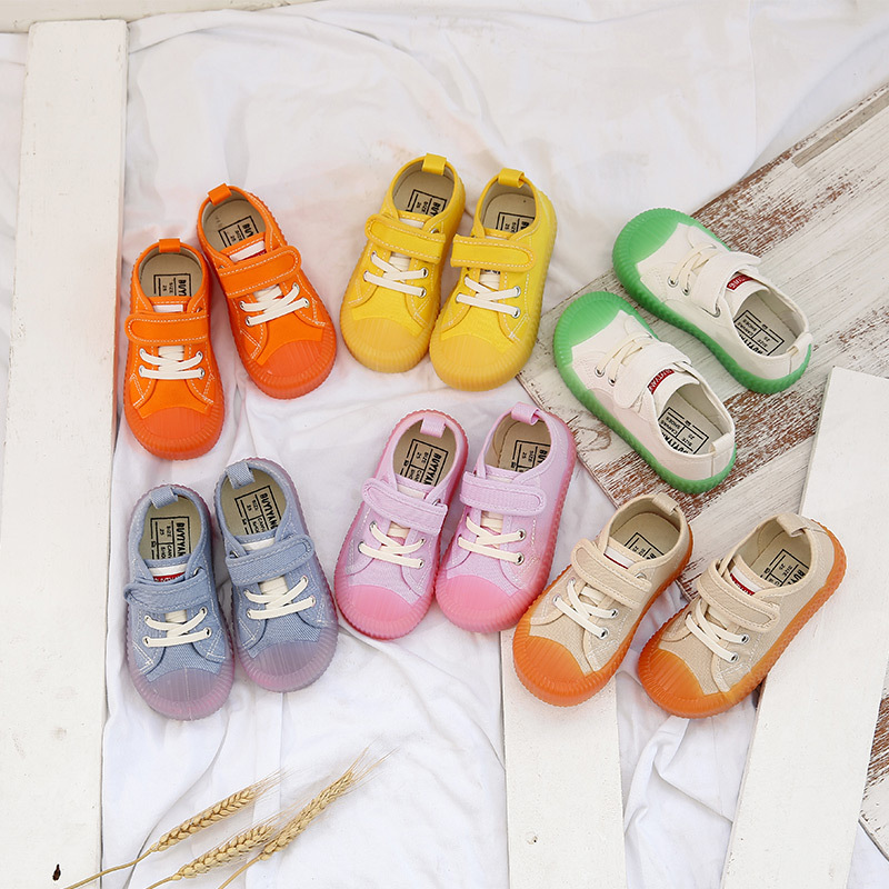 Child Canvas Shoes Baby Boys Biscuit Soft Bottom Shoes Toddler Girls Casual Breathbale Shoes Little Kids Non-slip Footwear