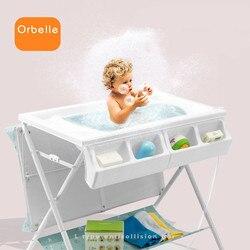 Mesa de pañales multifuncional Fácil plegado cómoda mesa de baño de bebé cuidado de masaje