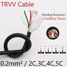 Квадратный 0,2 мм TRVV буксирный кабель 2 3 4 5 сердечник оболочка медный провод мягкий ПВХ изолированный силовой цепной провод сопротивление изгибу черный