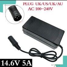 14,4 o 14,6 V 5A LiFePO4 cargador 4Series 12V 5A Lifepo4 cargador de batería 14,4 V cargador inteligente de batería para 4S 12V LiFePO4 batería