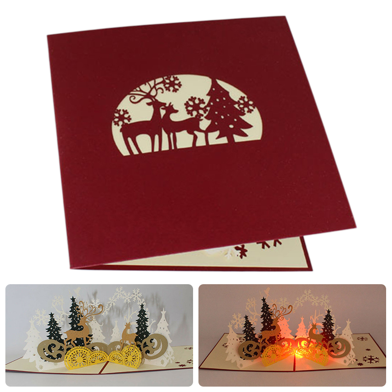 1pc Forest Deer 3d Stereo Greeting Cards With Led Light