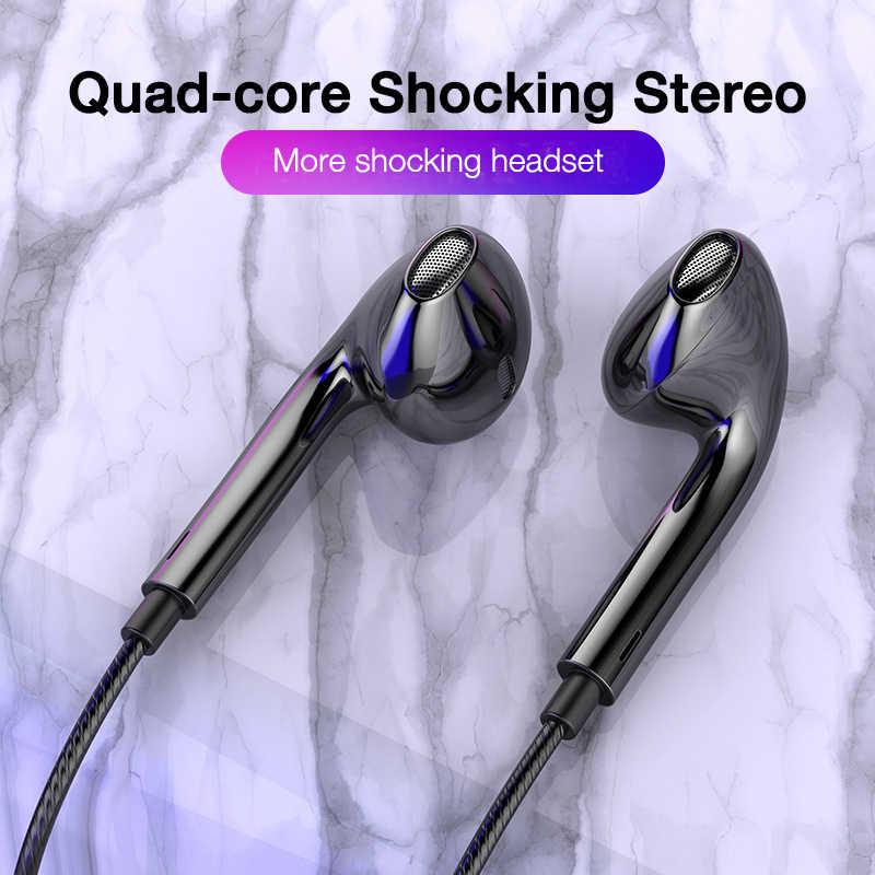 سماعات أذن سلكية رباعية النواة للجوال من earديكو سماعات أذن رياضية 3.5 مزودة بجهير وسماعة رأس ستيريو سلكية للموسيقى
