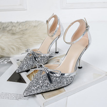 Liren 2019 Summer New PU Fashion Sexy Lady Buckle Party Sandals Butterfly-knot Crystal Bling High Thin Heels Pointed Toe