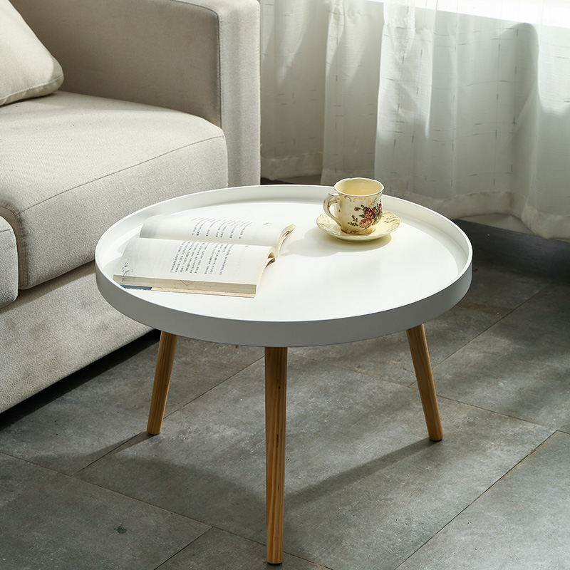 Simple Side Table Simple Japanese Solid Wood Round Table Small Type Nordic Tea Table Ins Wind Head Table Table Sofa Edge A Few
