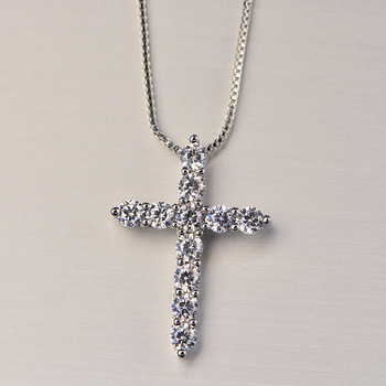 silver color  necklace jewelry women wedding fashion Cross CZ crystal Zircon stone pendant necklace  Christmas gift n296 5