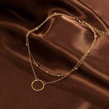Nouveau collier ras du cou pour femmes, deux couches rondes, couleur or, collier ras du cou, ensemble à la mode, collier femme ras du cou