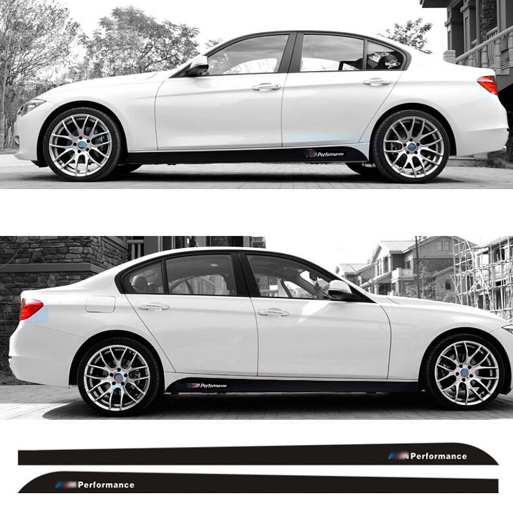 For BMW F20 F21 F30 F31 F32 F33 F34 F15 F16 <font><b>F10</b></font> F02 F11 F01 E92 E60 E61 M Performance Side Skirt Sill Stripe Body Decals <font><b>Sticker</b></font> image
