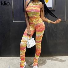 Kliou women tie dye print sporty matching set sleeveless tank tops+leggings stretchy tracksuit skinny streetwear bodycon outfits