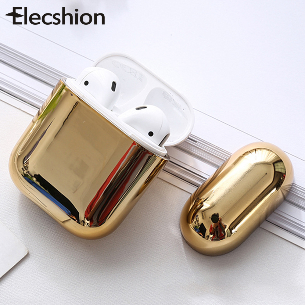 Luxury Universal Earphone Case Hard For Apple Airpods 2 1 Plating Pc Cover Bluetooth Shockproof