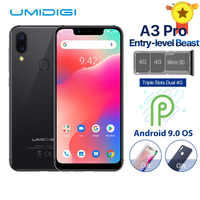 "UMIDIGI A3 Pro Global Band Android 9.0 5.7 ""19:9 téléphone mobile plein écran 3GB + 32GB 12MP + 5MP visage déverrouillage double Smartphone 4G"