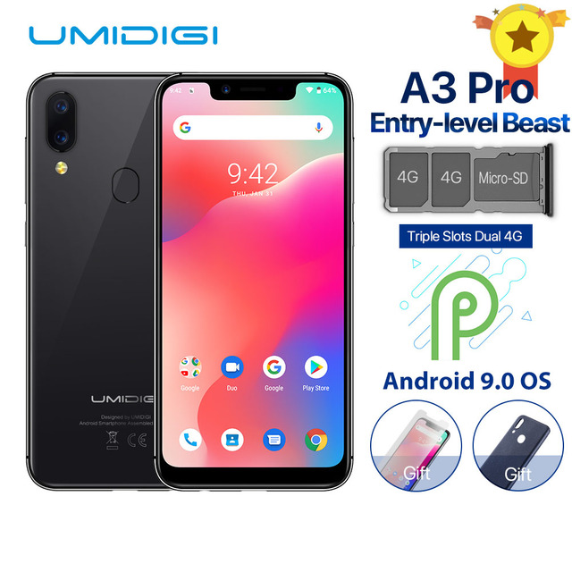 """UMIDIGI A3 Pro Global Band Android 9.0 5.7""""19:9 Full Screen Moblie Phone 3GB+32GB 12MP+5MP Face Unlock Dual 4G Smartphone"""