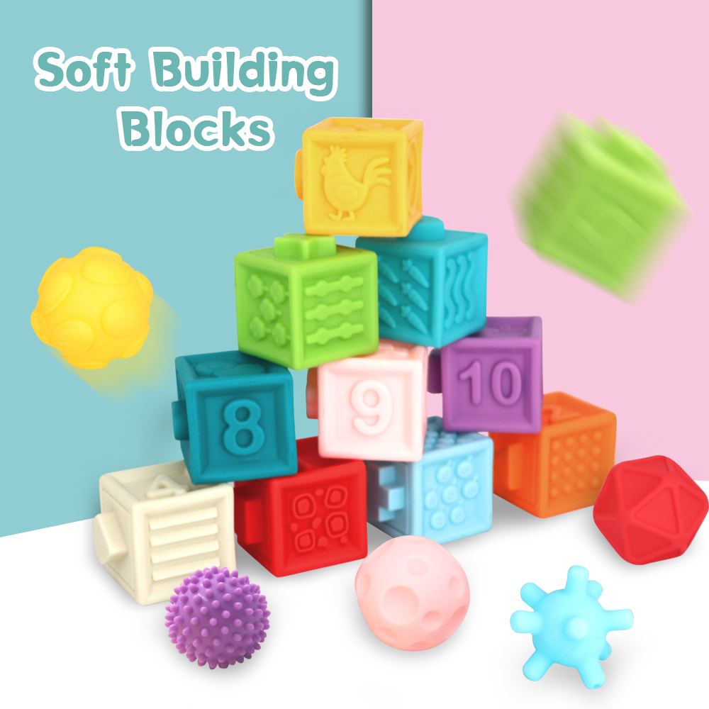 Silicone Toys Baby Grasp Toy Building Blocks 3D Touch Hand Soft Balls Baby Massage Rubber Teethers Squeeze Toy Bath Ball
