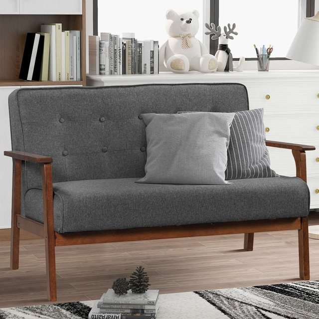 Loveseat Sofa Leather 2-Seat Couch 3
